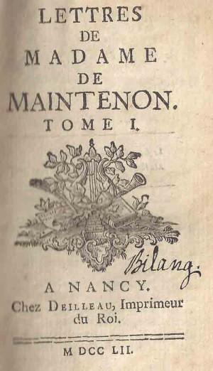 lettres-de-Madame-de-Maintenon-titelblad