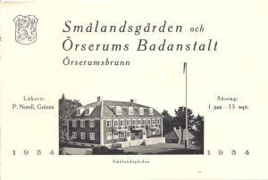 """Örserumsbrunn, Smålandsgården Örserums Badanstalt. broschyr från 1934 med """"aktuella"""" priser!"""