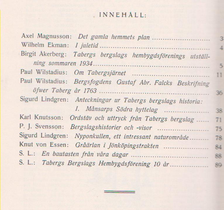 TABERGS BERGSLAG III No 3 -1938 - INNEHÅLL -