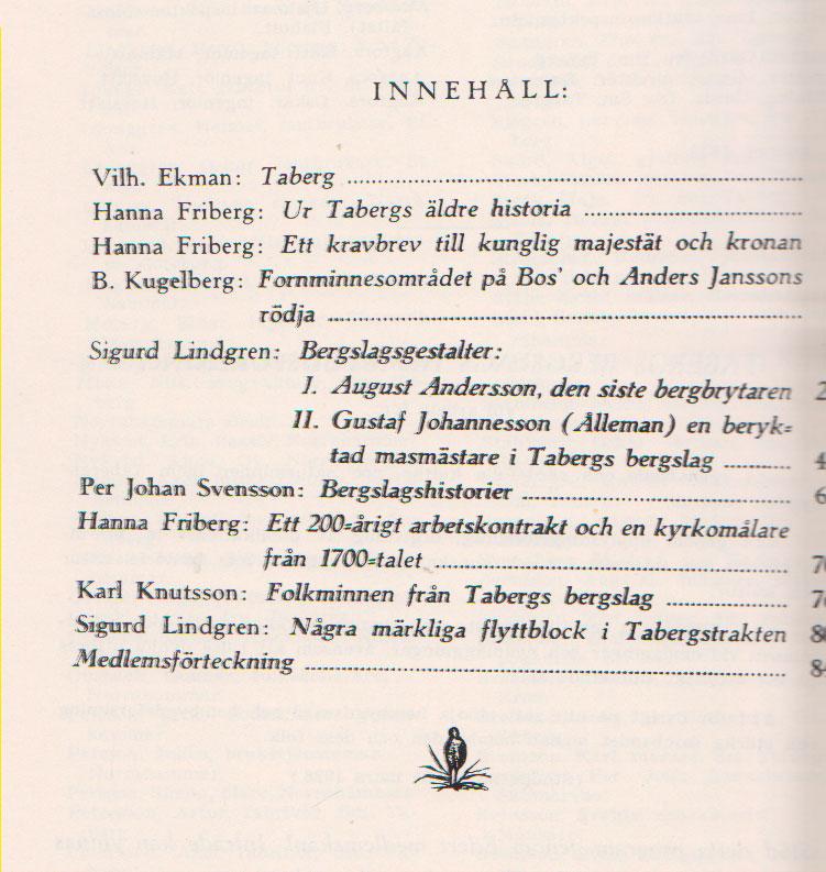 TABERGS BERGSLAG II No 2 -1934 - INNEHÅLL -