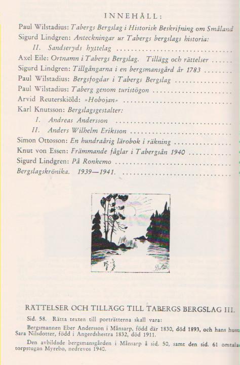 TABERGS BERGSLAG IV No 4 -1974 - INNEHÅLL -