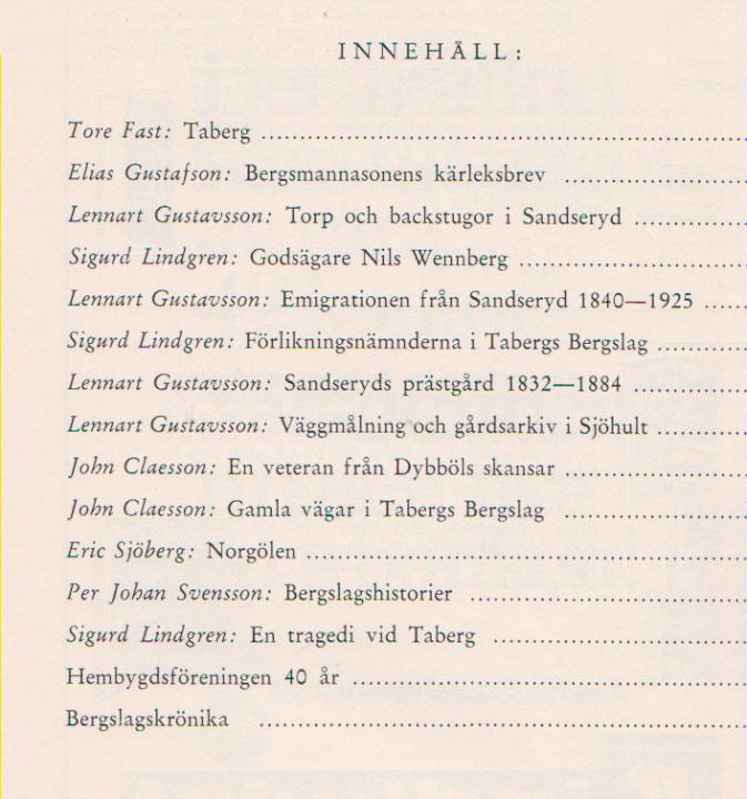 TABERGS BERGSLAG IX No 9 1969 - INNEHÅLL -