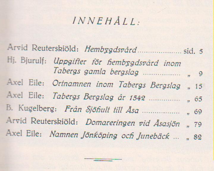 TABERGS BERGSLAG I No 1 -1929 - INNEHÅLL -