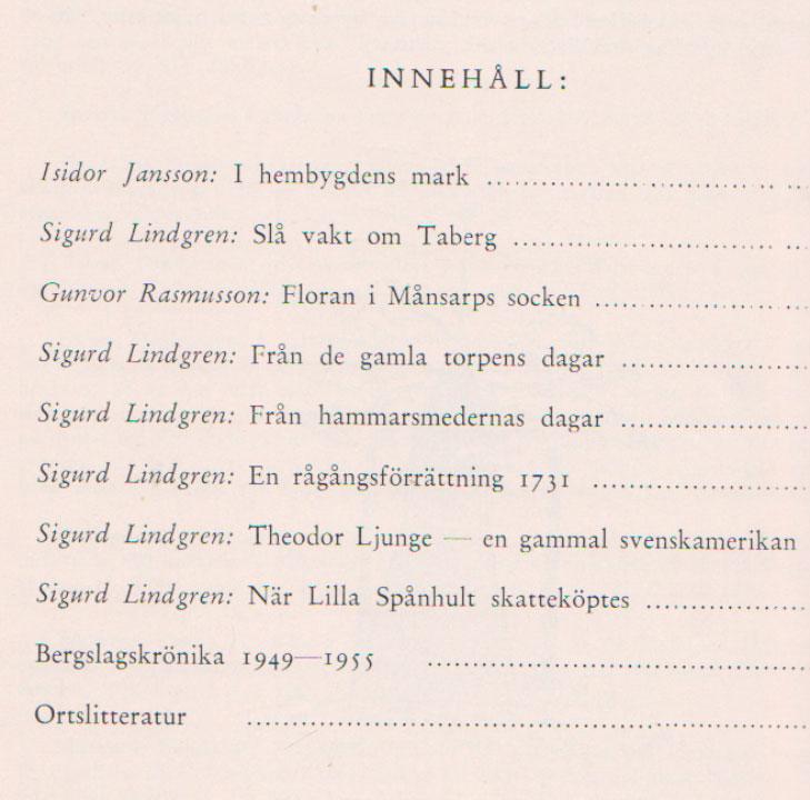 TABERGS BERGSLAG VII No 7 - 1956 - INNEHÅLL -