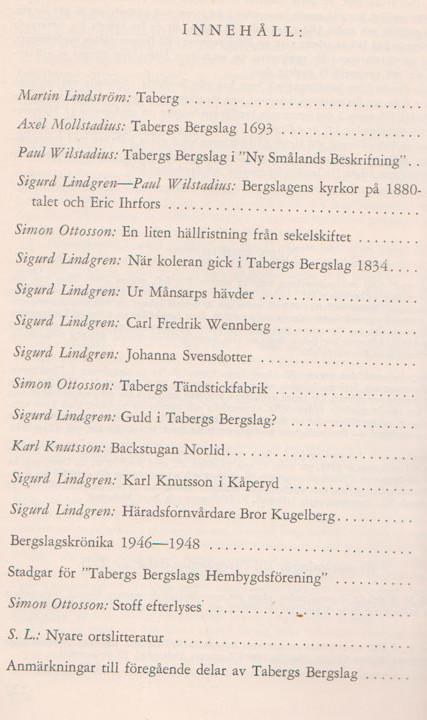 TABERGS BERGSLAG VI No 6 - 1949 - INNEHÅLL -