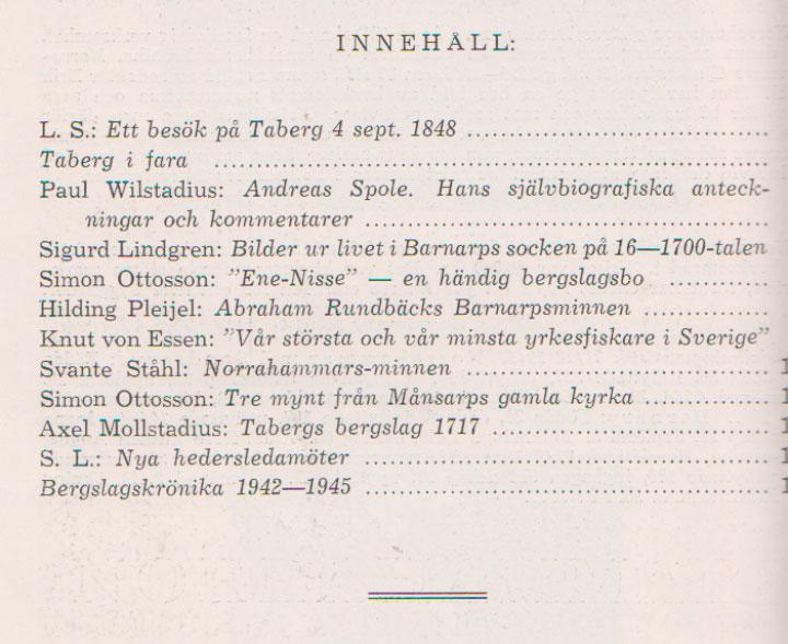 TABERGS BERGSLAG V No 5 - 1946 - INNEHÅLL -