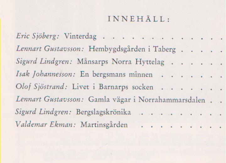 TABERGS BERGSLAG X No 10 -1974 - INNEHÅLL -