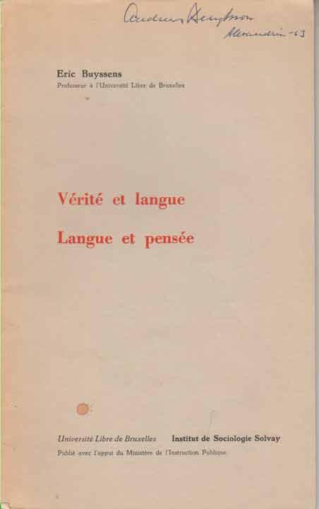 Vérité et langue Langue et pensée