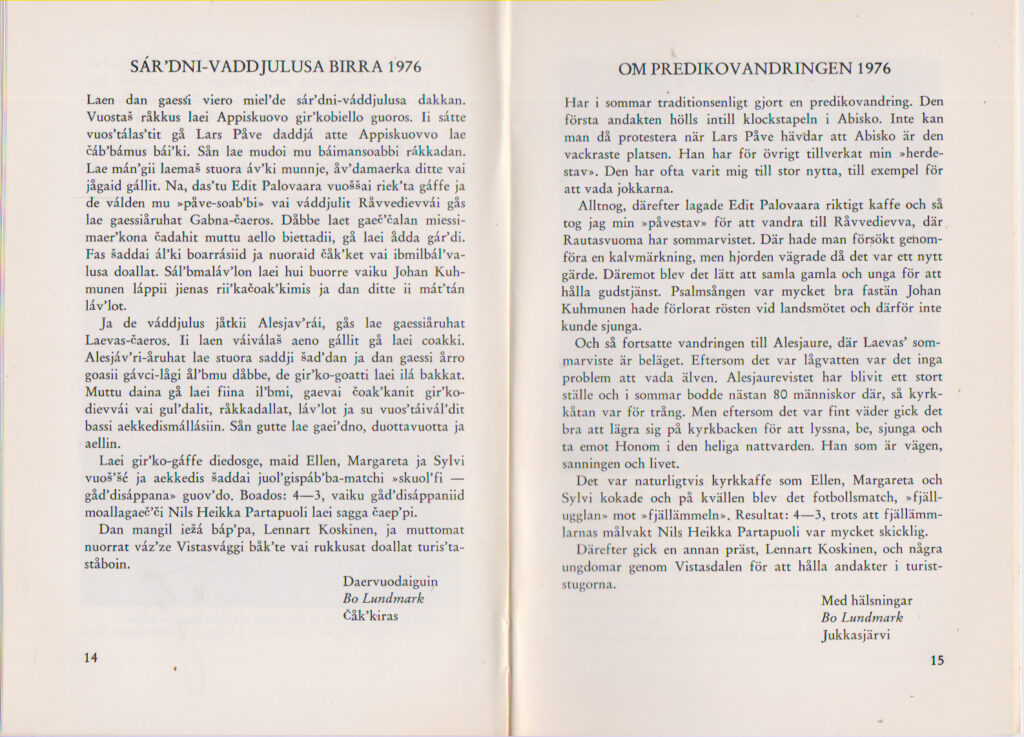 Om predikovandringen 1976 ur Bland Sveriges Samer 76-77 - SÁR'DNI-VADDJULUSA BIRRA 1976