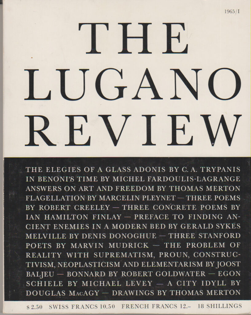 THE LUGANO REVIEW VOL. 1/1 1/1965 EDITOR: James Fitzsimmons
