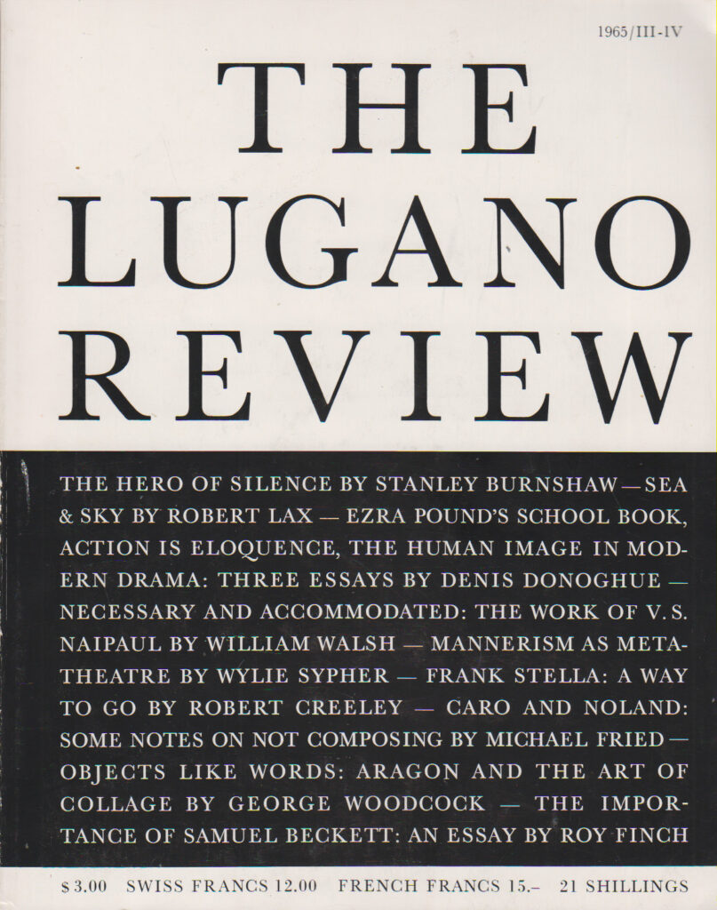 THE LUGANO REVIEW VOL. 1/3-4 SUMMER 1965 EDITOR: James Fitzsimmons