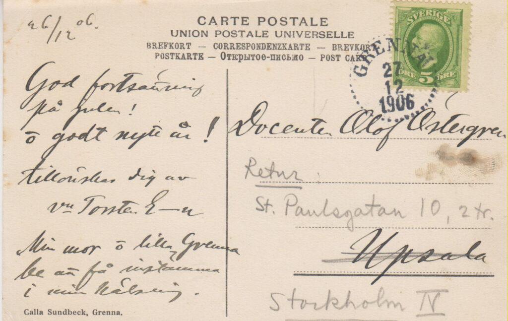 """Hovfotografen Calla Sundbecks Grännapäron som kommit på villovägar i """"julposten"""" 1906"""